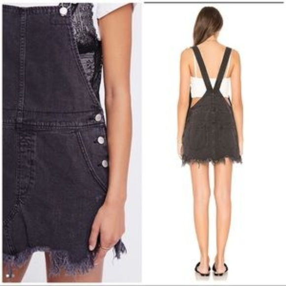 9b12ced37dc Free People Dresses   Skirts - Free People overall jumper skirt 2 distressed  blk